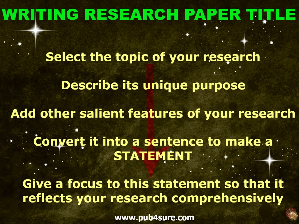 research papers title Get expert pointers on writing a research paper title visit editage insights for more editorial tips.