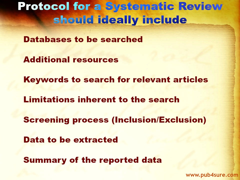 Protocol Systematic Review Article
